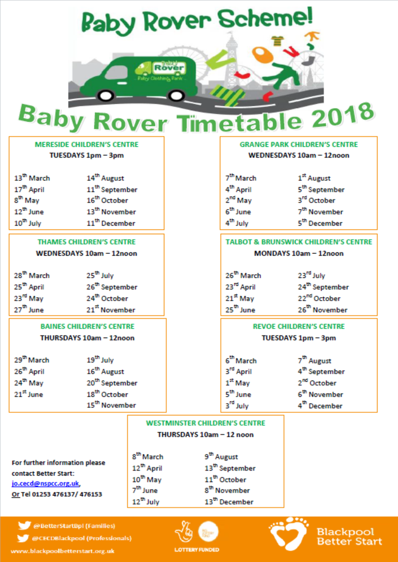 Baby Rover Timetable Spring-Summer 2018